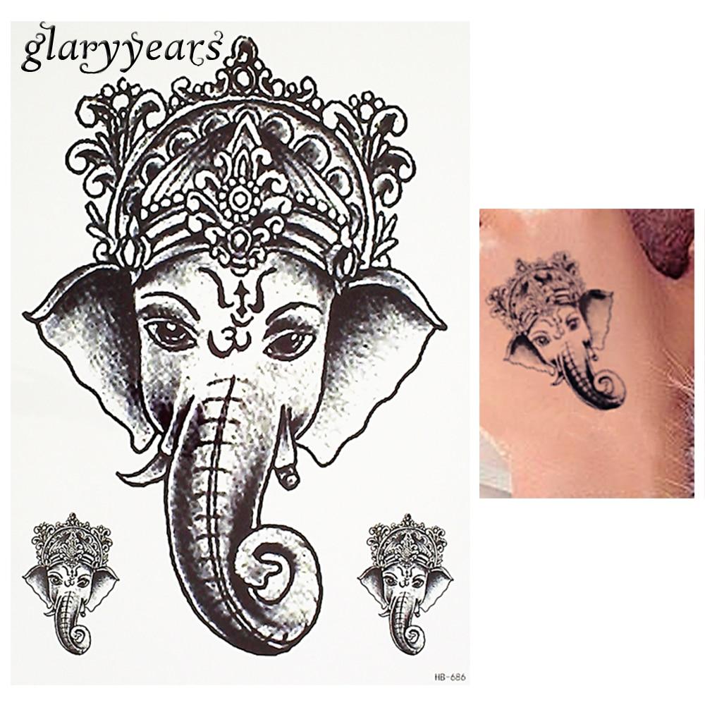 1 Piece Black Color Tattoo Sticker Thailand Ganesh Elephant God ...