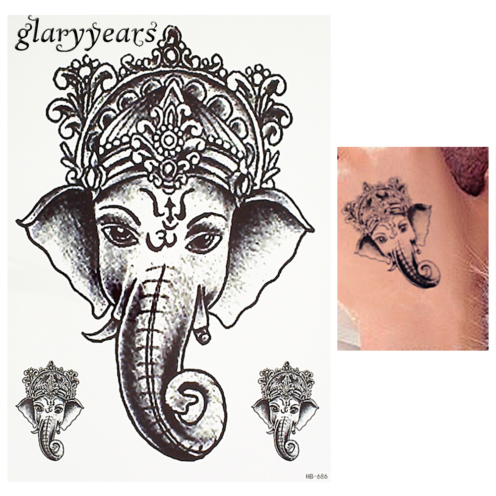 ᓂ1 Piece Black Color Tattoo Sticker Thailand Ganesh Elephant God ...