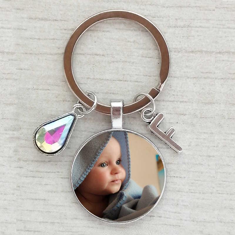 Cá tính thủ công sinh nhật Tên Móc khóa hình Con Mẹ bố một họ ảnh Tặng Pha Lê móc khóa Chữ móc khóa