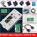 Envío gratis 100% origanil Más Nuevo RT809F LCD programador ISP con 8 adaptadores + sop8 IC test clip + ICSP tablero/ISP cable