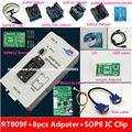 O envio gratuito de 100% origanil Mais Novo programador ISP RT809F LCD com 8 adaptadores + IC sop8 test clip + placa ICSP/ISP cabo