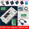 free shipping 100% origanil Newest RT809F LCD ISP programmer with 8 adapters +sop8 IC test clip + ICSP board /ISP cable