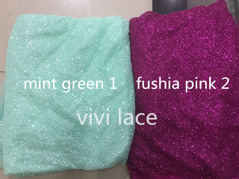 5yards A122 # mint green/fushia dobby dot tulle mesh hand print lace fabric for sawing wedding bridal /evening dress