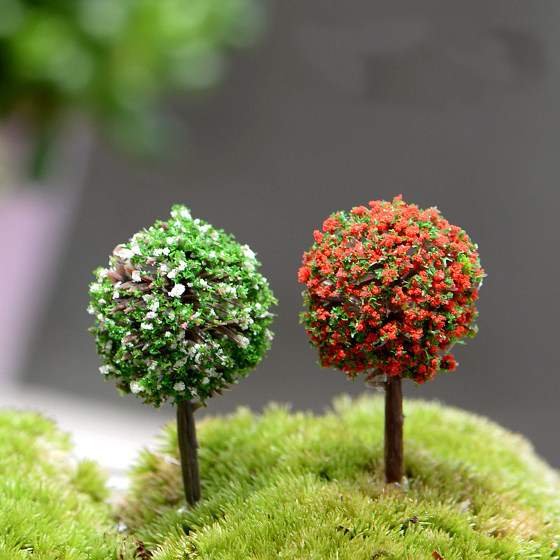 10PCS Mini Garden Decorations Resin Tree Fairy Garden Miniatures Trees Garden Decoration Terrarium Figurines Miniature Figurines