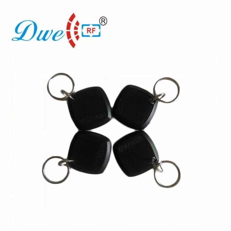 Купить с кэшбэком DWE CC RF 100pcs /lot access control 125khz tk4100 em4100 abs security laser card number rfid tag token Key Chains