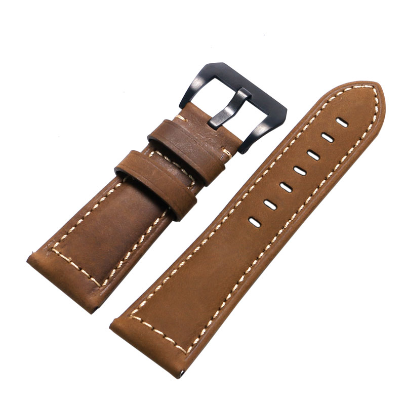 Fashion Brown 24mm/26mm Width Crazy Horse Genuine Leather Watch Strap Band With Black Clasp For Sport Watches eache 26mm hand made crazy horse genuine leather replacement watch band strap fit for garmin fenix 3 silver black buckle