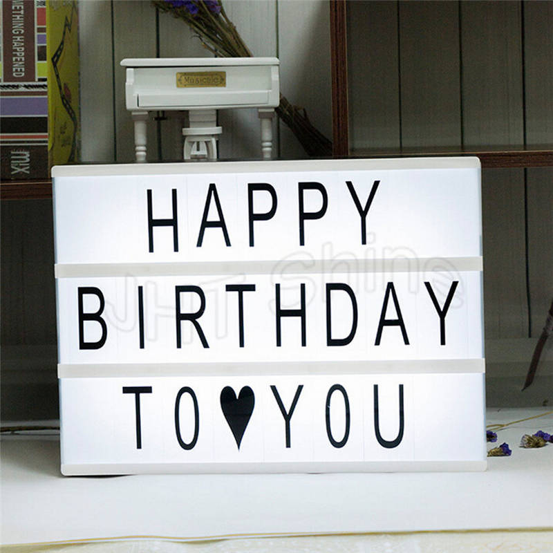 Battery Powered Cinematic Cinema Plaque LED Light Up A4 Letter Box DIY Sign Lightbox Table Party Wedding Christmas Decoration