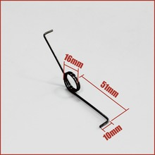 torsion spring wire dia 1.5mm OD 16mm long 51mm 2 coils