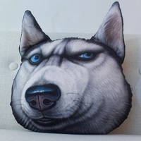 3D Dog Head Seat Cushion Back Decorative Stuffed Toy Pillow Animal Husky Doge Pattern Funny Sofa