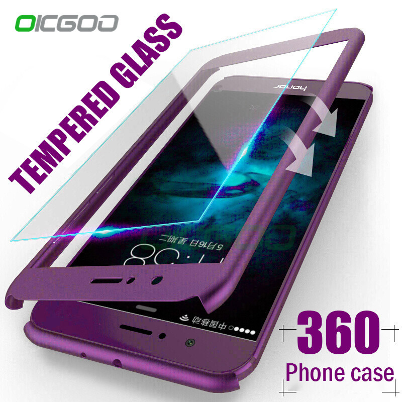 OICGOO 360 Degree Full Cover Case For Huawei P9 P10 P20 Lite Plus Cases With Glass For Huawei P20 Mate 9 10 Lite Pro Phone Case(China)