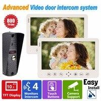 10 Inch Video Door Phone Recording Video Intercom HD 800TVL 1 IR Night Doorbell Camera and 2 Hands Free Monitor Doorbell F1382B