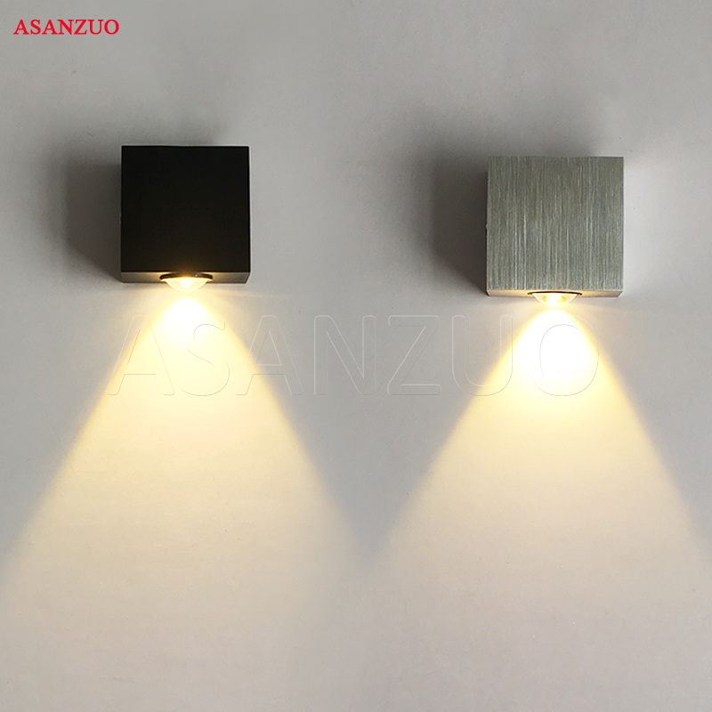1W 3W Led Wall Lamp Square Led Spot Light Aluminm Modern Home Decoration Light For Bedroom Dinning Room Restroom