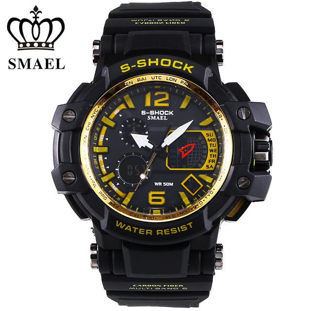 SMAEL Brand Men Sport Watches LED Digital watch men 50M Waterproof Casual quartz Watch Male Clock Men relogios masculino Gift