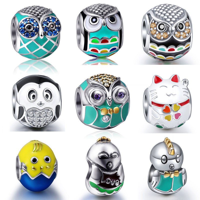 Cute Animal Cat Owl With CZ Enamel Beads Fit pandora Charms Bracelet Pendant 2017 New Arrival sterling silver 925 jewelry Beads