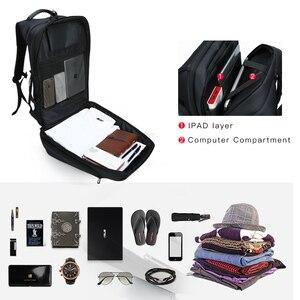 Image 5 - Kingsons plecak męski Fit 15 17 cal laptopa USB ładowania przestrzeń wielowarstwowa podróży torba męska Anti theft Mochila