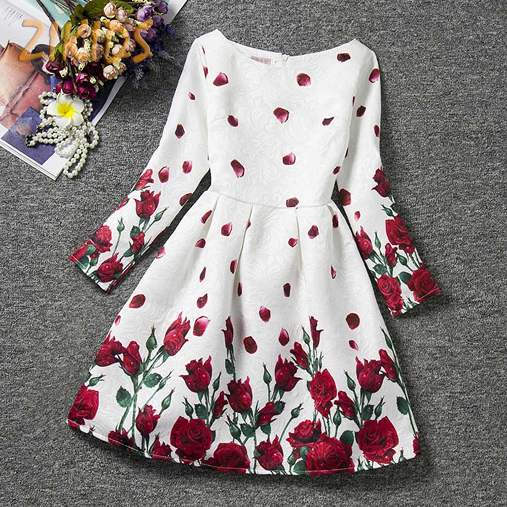 Girls Floral Print Dress for Party Beautiful Flower Girl Dresses Children Clothing Brands Kids Clothes Autumn 2017 New Fashion fashion 2016 new autumn girls dress cartoon kids dresses long sleeve princess girl clothes for 2 7y children party striped dress