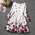Girls Floral Print Dress for Party Beautiful Flower Girl Dresses Children Clothing Brands Kids Clothes Autumn 2016 New Fashion