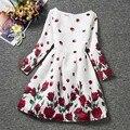 Muchachas de la Impresión Floral Vestido de Fiesta Hermosa Niña de las Flores Vestidos Niños Marcas De Ropa Para Niños Ropa de Otoño 2016 Nueva Moda
