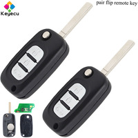 KEYECU Pair Folding Remote Key With 3 Buttons/ 434MHz/ PCF7961 Chip/ VA2 Blade - FOB for Renault Scenic III Megane III 2009-2015