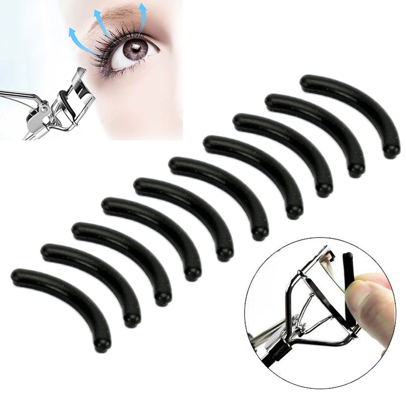 ELECOOL 10PCS Black Replacement Eyelash Curler Refill Silicone Pads Makeup Curling Styling Tools Eyelash Curler Replacement