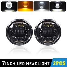7 Inch 6DLED Headlights Angle Eyes Turn Singal Hi/Low 7 Round Headlamp DRL for Lada 4x4 Urban Niva Land Rover Jeep Toyota 2x black 7inch round h l drl w turn signal led headlight assembly kit for lada 4x4 urban niva for jeep wrangler for land rover
