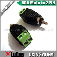 Free Shipping 10pcs RCA Male TO 2Pin Adapter,Camera DVR Connector,CCTV Accessories ,Wholesale XR-AC29