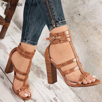 Parkside Wind PU Leather High Heels Peep Toe Pritend Buckle Strap Women Sandals Fashion Gladiator Party Ladies Shoes XWC1325 5