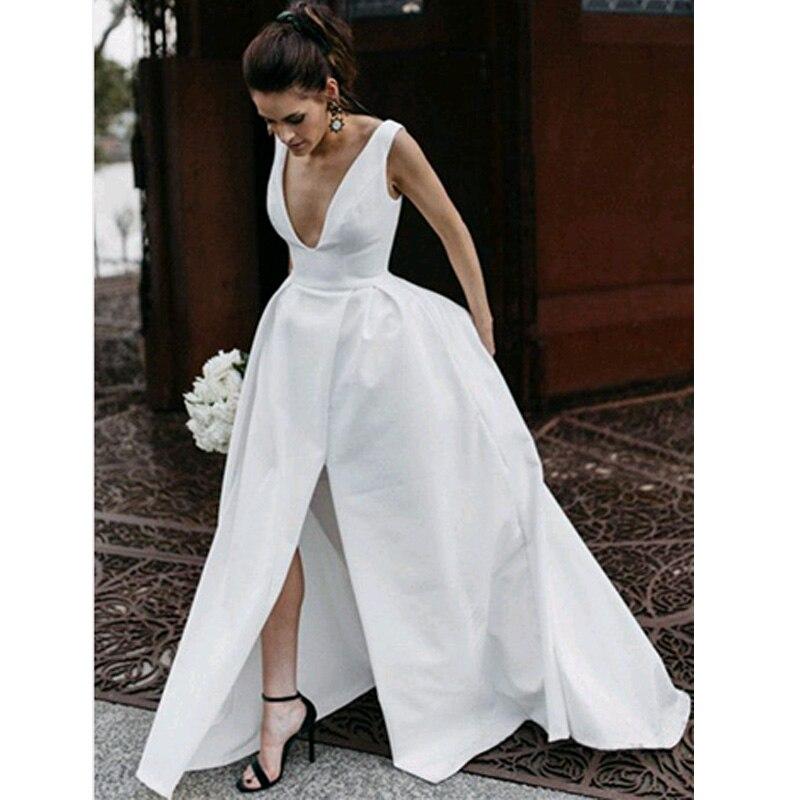 2020  New Arrival V Neck Simple Satin Wedding Dress With Slit Bridal Dresses Custom Made
