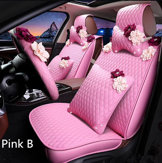 Luxury PU Leather Universal Automotive Car Seat Covers Car cushion for girls&women fit m ...