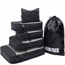 Bestseller Leichte Reisetasche Verpackung Würfel 6 stücke Mit Wäsche Schuhbeutel Koffer Kompression Würfel für Gepäck Organizer