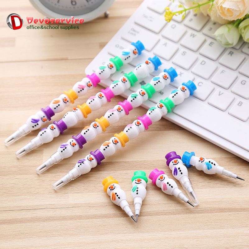 Cute Lovely Snowman Pencil Kawaii Smile Standard Pencils Creative Candied Gourd Pen For Kids Novelty Stationery Christmas Gift