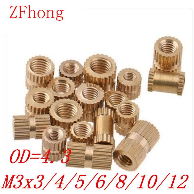 100PCS OD=4.3 M3*3/4/5/6/8/10/12 Brass Insert Nut / Knurled Nut / Round Nut For Injection Moulding