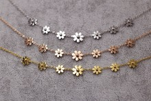 2018 Fashion Luxury Cute Daisy Rose Gold Color Brand Stainless Steel Love Flower Pendant Necklace Women Gift
