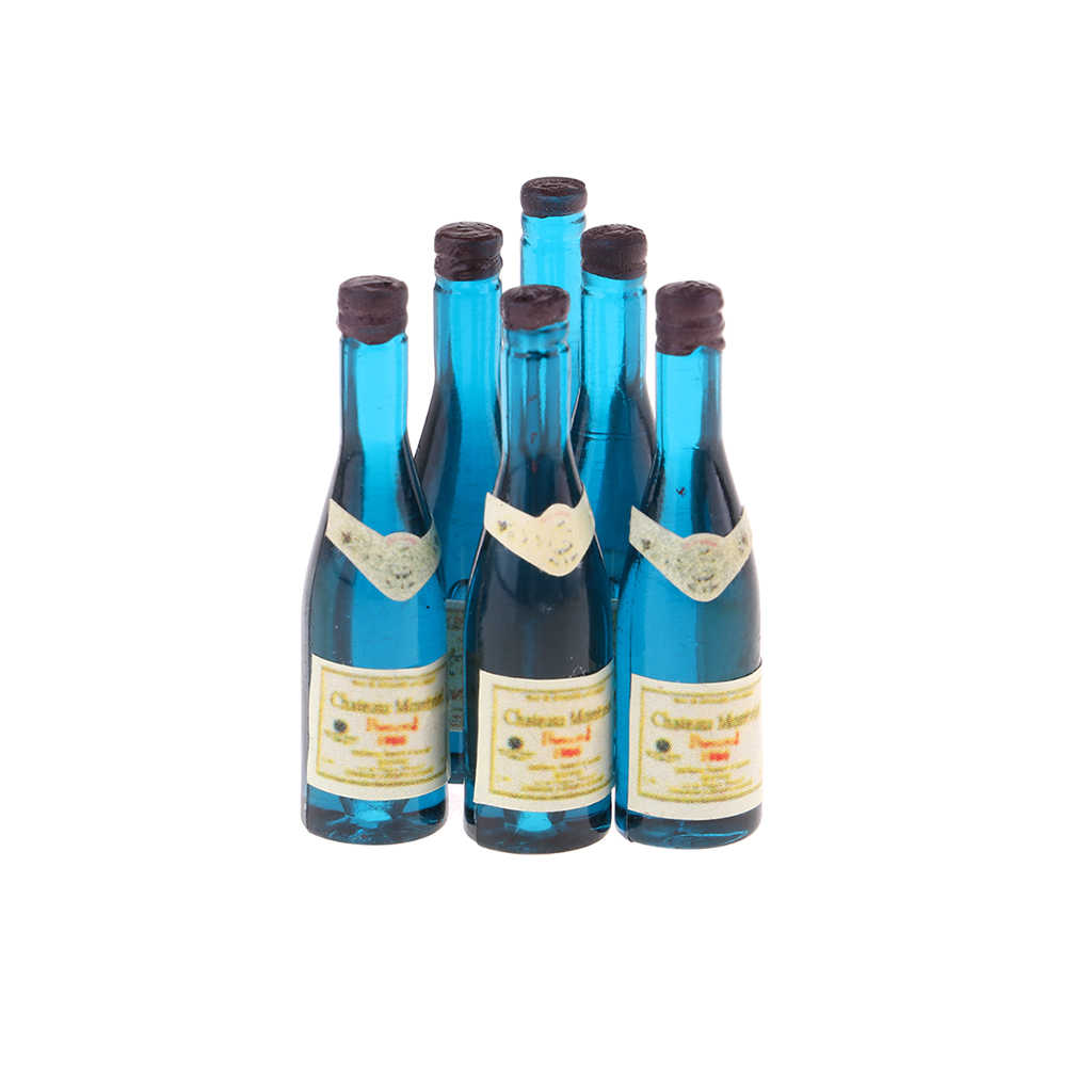 MagiDeal 6 Pieces Wine Bottles Model 1//12 Dollhouse Miniature Accessories