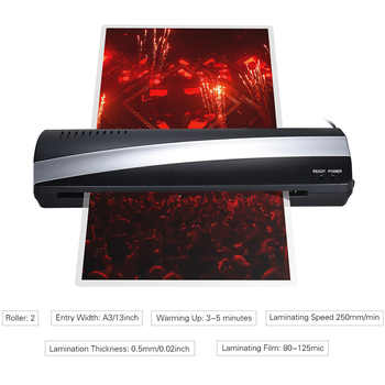 A3 Photo Paper Hot and Cold Thermal Laminator Machine Quick Warm-up Fast Laminating Speed with Pouch Board EU Plug
