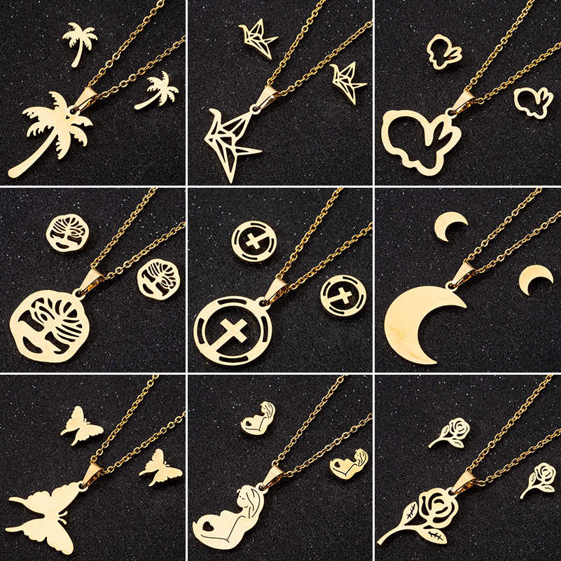 Jisensp Gold Stainless Steel Jewelry Sets for Women Bird Pendant Animal Rabbit Butterfly Necklace Stud Earrings Collares Mujer
