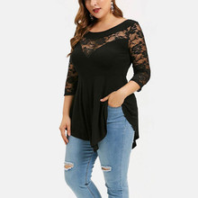 Plus Size Summer Fashion Lace Blouse Casual Ladies Solid Irregular Tee Tops Female Women's 3/4 Sleeve Shirt