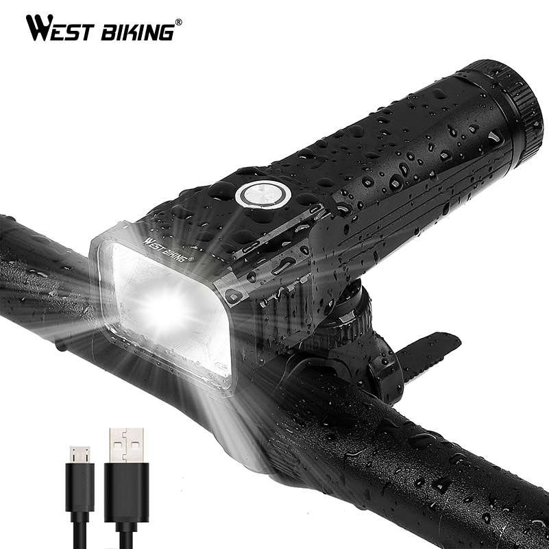 WEST BIKING Bike Light USB Rechargeable 1000 Lumens IPX5 Waterproof MTB Road Bicycle Front Light Cycling Lamp Bicycle Light outerdo 1 pair ipx5 waterproof intelligent mtb cycling light led bicycle hub light smart rechargeable bike wheel spoke diy light