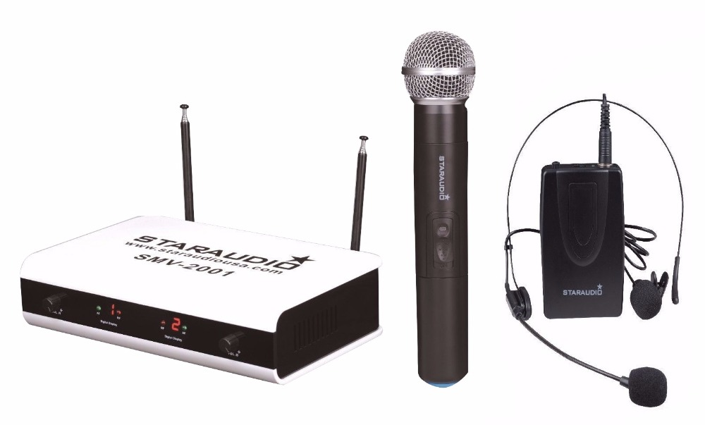 STARAUDIO SMVW-2001A+B Pro PA DJ Wireless VHF 2 Channel DJ Karaoke Handheld and Lapel Headset Microphone System