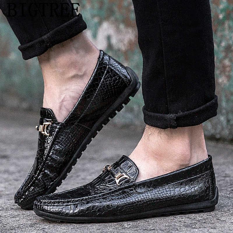 จระเข้รองเท้าสิทธิบัตรรองเท้าหนังผู้ชาย loafers รองเท้าบุรุษรองเท้าสบายๆยี่ห้อ chaussure homme chaussure homme cuir sapatos