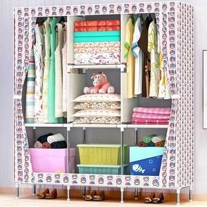 Image 5 - 3D 絵画不織布ワードローブ鋼フレーム補強立ち収納オーガナイザークロキャビネットホーム寝室の家具