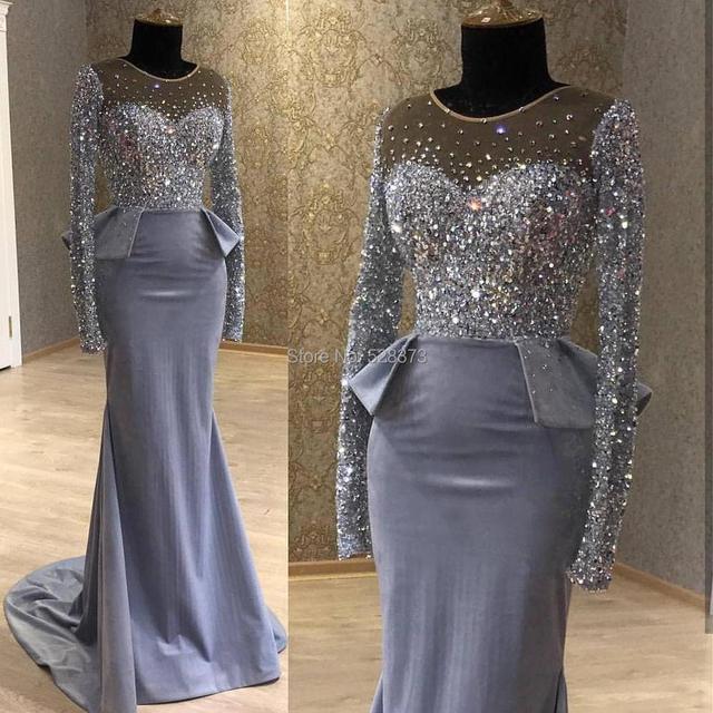YNQNFS ED19 Luxury Heavy Beaded Turkey   Muslim  Arabic Crystal Mermaid  Evening Dress Long Sleeves 019a7b6fcd34