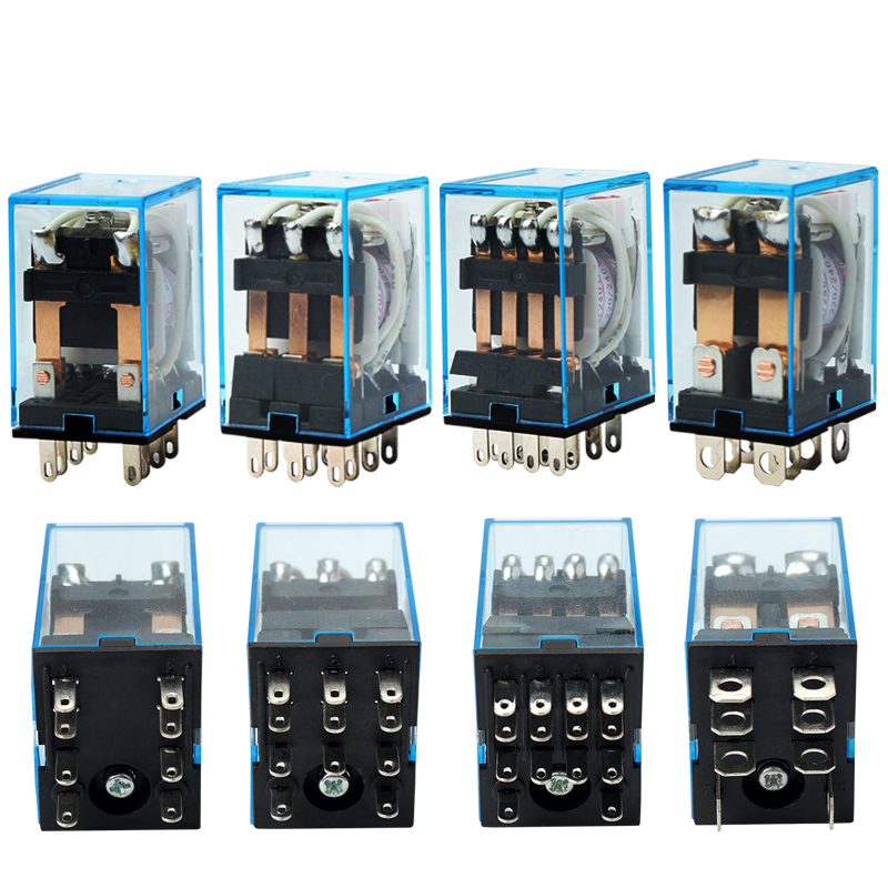 MY2NJ relay 12V 24V 110V 220V  coil high quality general purpose DPDT micro mini relay with socket base holder hh52p my2nj my2n my2 dc 12v coil 5a general purpose power relay 8 pin dpdt