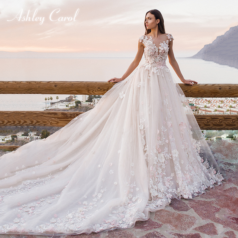 Ashley Carol Appliques Scoop Short Tulle Wedding Dress 2019 Princess Flowers Chapel Train Bride Dress Backless Wedding Gowns