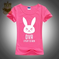 Hot Game Watch Over LOVELY Character DVA D VA Cute Rabbit Short Sleeve Cotton Girl S