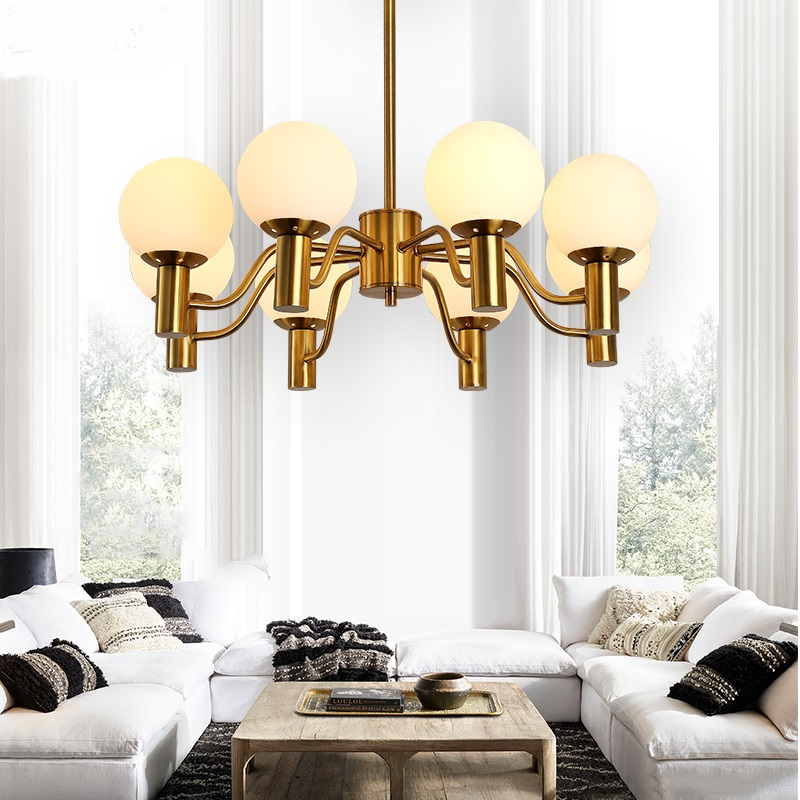 modern 6/8heads pendant light creative lamps Nordic dining room living room glass sphere lighting pendant lamps ZA8250 nordic modern 6 arm pendant light creative stainless steel hanging lamps lifting rod foliving room dining room lamp home decor