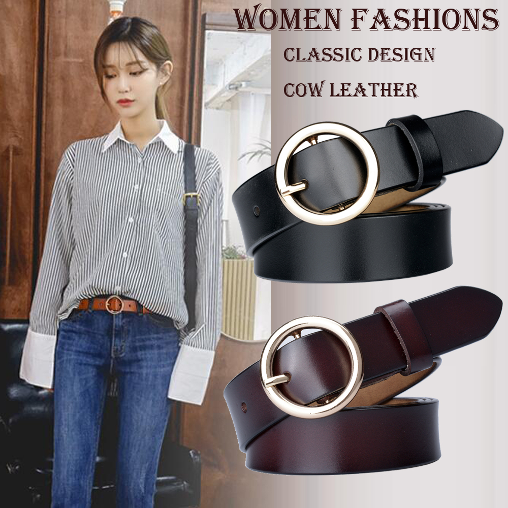 Hot Fashion Women   Belt   for Dress Genuine Leather Strap Waist Gold Round Buckle Real Leather Female Jeans   Belts   for Women Cowhide