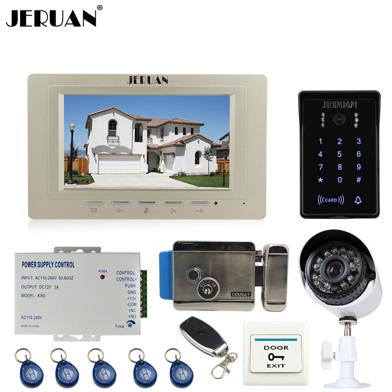 JERUAN 7`` Video DoorPhone intercom System kit waterproof touch Password keyboard Access IR Camera + 700TVL Analog Camera+E-lock