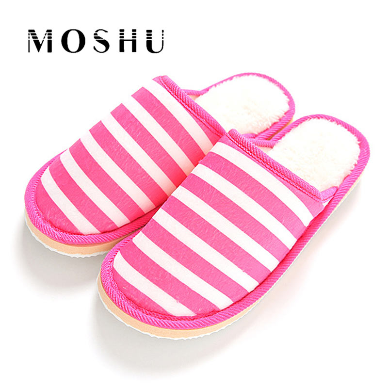 Women Cotton Slippers Autumn Winter Indoor Non Slip Thick Soles Striped Slippers Warm Soft Couple Shoes Flats Female Slides new women slippers non slip home room slippers elastic cloth printed grid transparent women comfortable thick soles women shoes