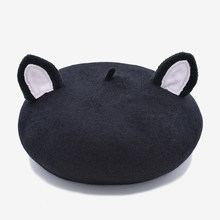 COKK Wool Beret Autumn Winter Hats For Women Lady Cat Ear Pattern Soft Woolen Warm Winter Beanie Beret Cap Female Gorras Boina(China)